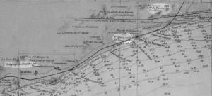 Desde el cabo de Tortosa hasta la punta de la Palomera según los trabajos hechos en 1886 y en 1887 por la comisión Hidrográfica al mando del capitán de la fragata D. Rafael Pardo de Figueroa. Fuente: ICC