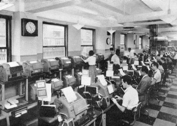 Sala de teletipos. Central de Nueva York, años 50.