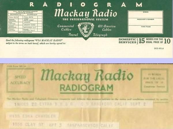 Impresos de entrega telegráficos (Mackay Radio)