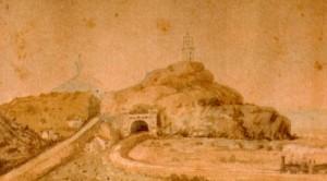 Grabado en el que se observan la torre civil encima del túnel del tren, y al fondo la torre de la línea militar. Imágen cedida por Jaume Prats i Pons del archivo del historiador local Abelard Chimisanas.