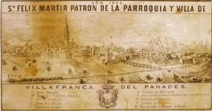 Vilafranca del Penedes en el año 1864, en el centro de la imagen con el nº 5 se observa la torre de los cuarteles.