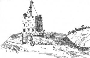 Torre telegráfica de la Puebla de Arganzón en 1875, con el telégrafo usado en la Tercera Guerra Carlista. Grabado de Ángel Rodríguez Tejero (1881).