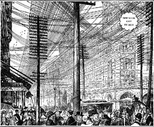 Fragmento del anuncio Years of progress mostrando el aspecto de las calles de New York en 1890