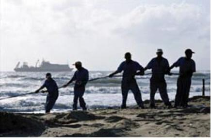 Cable submarino anclaje en la costa