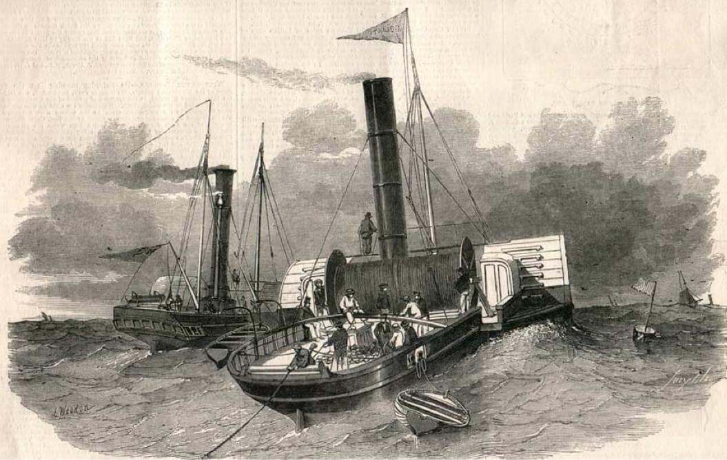 Tendido del primer cable telegráfico en el Canal de la Mancha –1851/1852