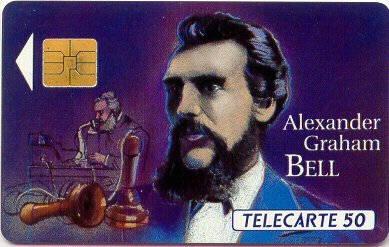 Tarjeta conmemorativa de Alexander Graham Bell.   Télécarte 50