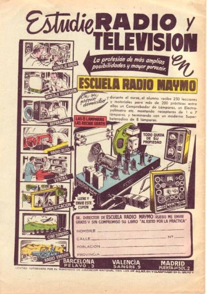 Anuncio de Radio Maymó. Revista Pulgarcito (Almanaque 1959 - Editorial Brugera)