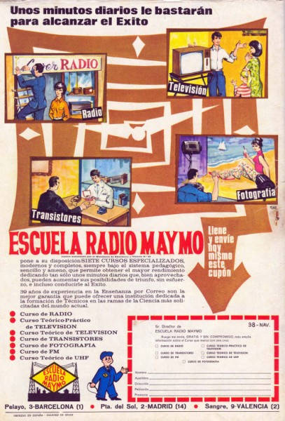 Anuncio de Radio Maymó. Revista Pulgarcito (Almanaque 1970 - Editorial Brugera)