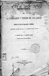 Original de la primera memoria para instalación de cables submarinos en las Islas Baleares.