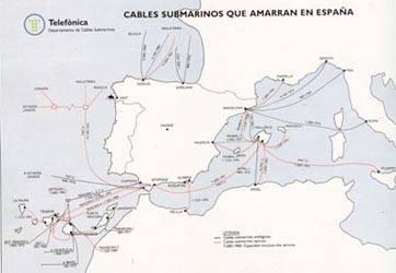 Cables submarinos coaxiales y de fibra óptica, actuales y previstos que amarran en España.
