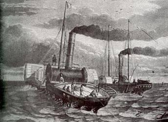 Tendido de los primeros cables de Dover a Calais.