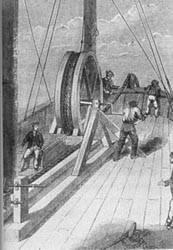 Primitivo tambor para el tendido de cables submarinos.