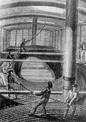 Trabajo de adujado del cable en los primeros tiempos.
