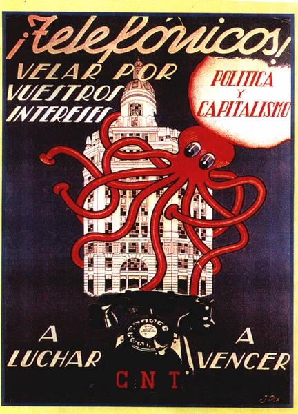 Imagen utilizada por la CNT en 1936, donde aparece la Plaza de Cataluña y dirigida a los
