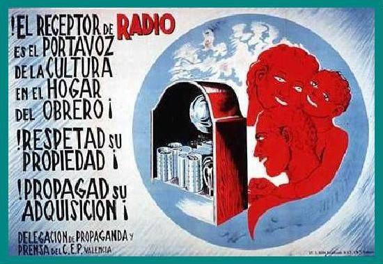 Cartel propagandístico de la radio durante la guerra civil (1936)