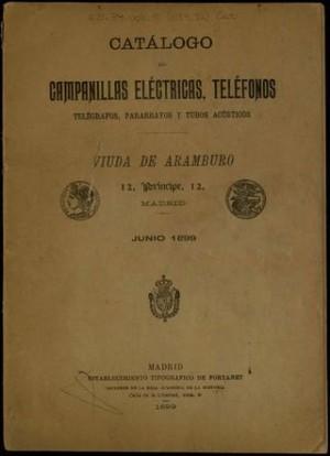 Catálogo de campanillas eléctricas, teléfonos, telégrafos, pararrayos y tubos acústicos