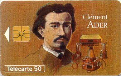 Tarjeta conmemorativa de Clément Ader.   Télécarte 50