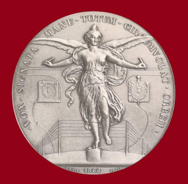 Medalla Conmemorativa de la Conferencia Telegráfica Internacional de 1865. Acuñada en París, en 1866