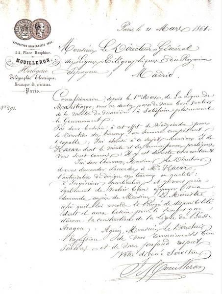 Primer contrato a un español como ingeniero para dirigir los trabajos de la construcción de la línea telegráfica del Bajo Aragón. Paris 1861