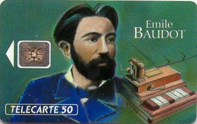 Tarjeta conmemorativa de Emile Baudot.  Télécarte 50