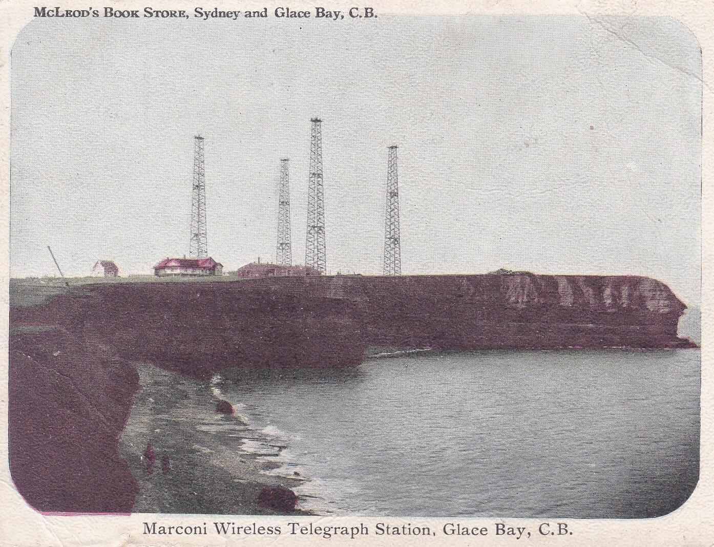 Estación Marconi de telegrafía sin hilos en Glace Bay, Nueva Escocia, Canadá. Circa 1902