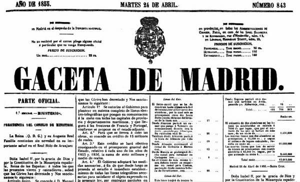 Fragmento de la gaceta de Madrid del 24 de Abril de 1855, en la que se publica la ley sobre construcción de líneas telegráficas.