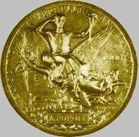 Gran medalla de oro dada a Popov en 1900 exposición universal de Paris