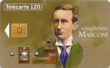 Tarjeta conmemorativa de Guiglielmo Marconi.  Télécarte 50