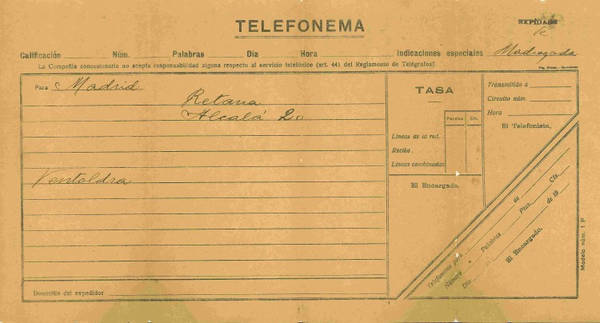 Impreso de Telefonema