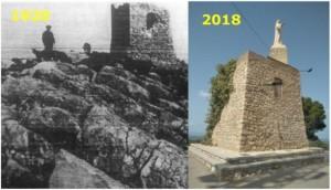 Comparación entre el aspecto de la torre entre los años 1920 y 2018. Fuentes: Revista Ràpita y Emilio Borque.