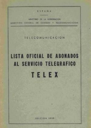 Lista oficial de abonados al Servicio Telegráfico TELEX