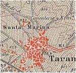 Situación, en el Mapa Topográfico Nacional de 1919, del cementerio y ermita de Santa Marina, con la cota más alta del término y donde estuvo la torre telegráfica.