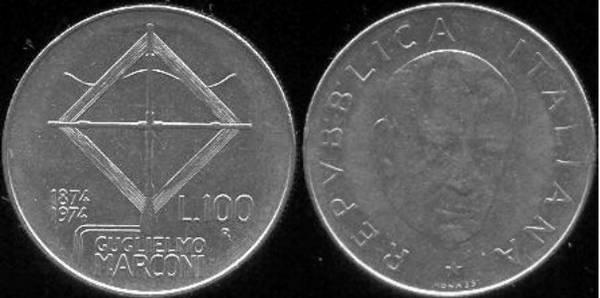 Conmemoración del centenario del nacimiento de Guglielmo Marconi (100 Liras)