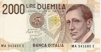 Billete de 2000 Liras. Italia. Marconi