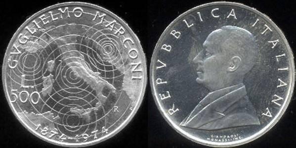 Conmemoración del centenario del nacimiento de Guglielmo Marconi (500 Liras)