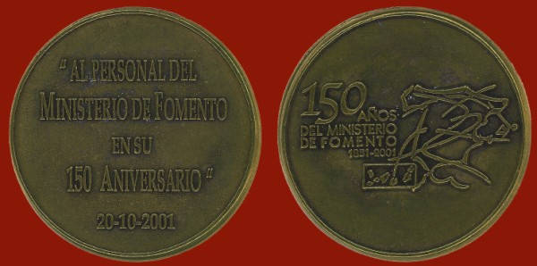 Medalla conmemorativa dedicada al personal del Ministerio de Fomento (2001)