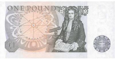 Billete de 1 Libra. Gran Bretaña. Newton