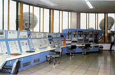 Consola de control de la estación terrena de satélites de Buitrago.