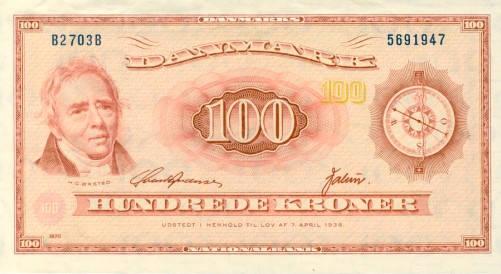 Billete de 100 Coronas. Dinamarca. Oersted