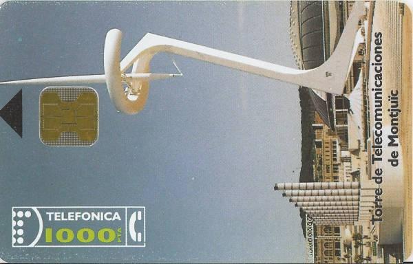 Tarjeta conmemorativa de las Olimpiadas de Barcelona 1992. (Anverso) Telefónica