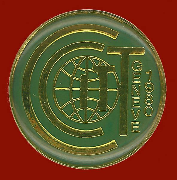 Pin conmemorativo reunión del CCITT celebrada en Ginebra en 1980
