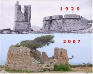 Comparación del estado de la torre años 1920 y 2007.