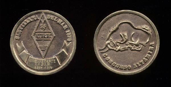 Medalla del Concurso Santillana (1979) Unión de Radioaficionados Españoles, URE, a EA0AB_EA1AB