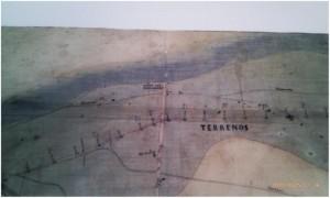 Fragmento de mapa del canal izquierdo del Ebro de la Comunitat de Regants donde aparece la torre.