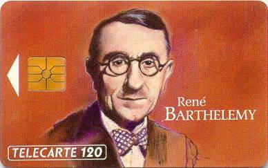 Tarjeta conmemorativa de René Barthelemy.  Télécarte 50
