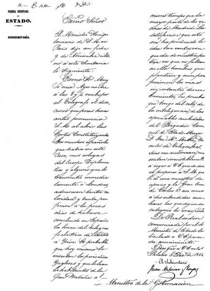 Telegrama de Subsecretario de Estado al Ministro de Gobernación informando de la llegada del primer telegrama internacional español de fecha 8 de noviembre de 1854, con la apertura de las Cortes Constituyentes