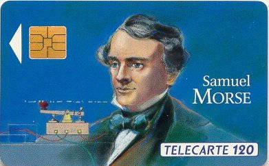 Tarjeta conmemorativa de Samuel Morse.   Télécarte 50