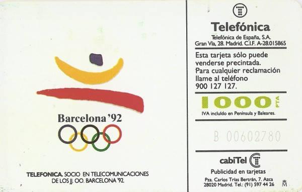 Tarjeta conmemorativa de las olimpiadas de Barcelona 92