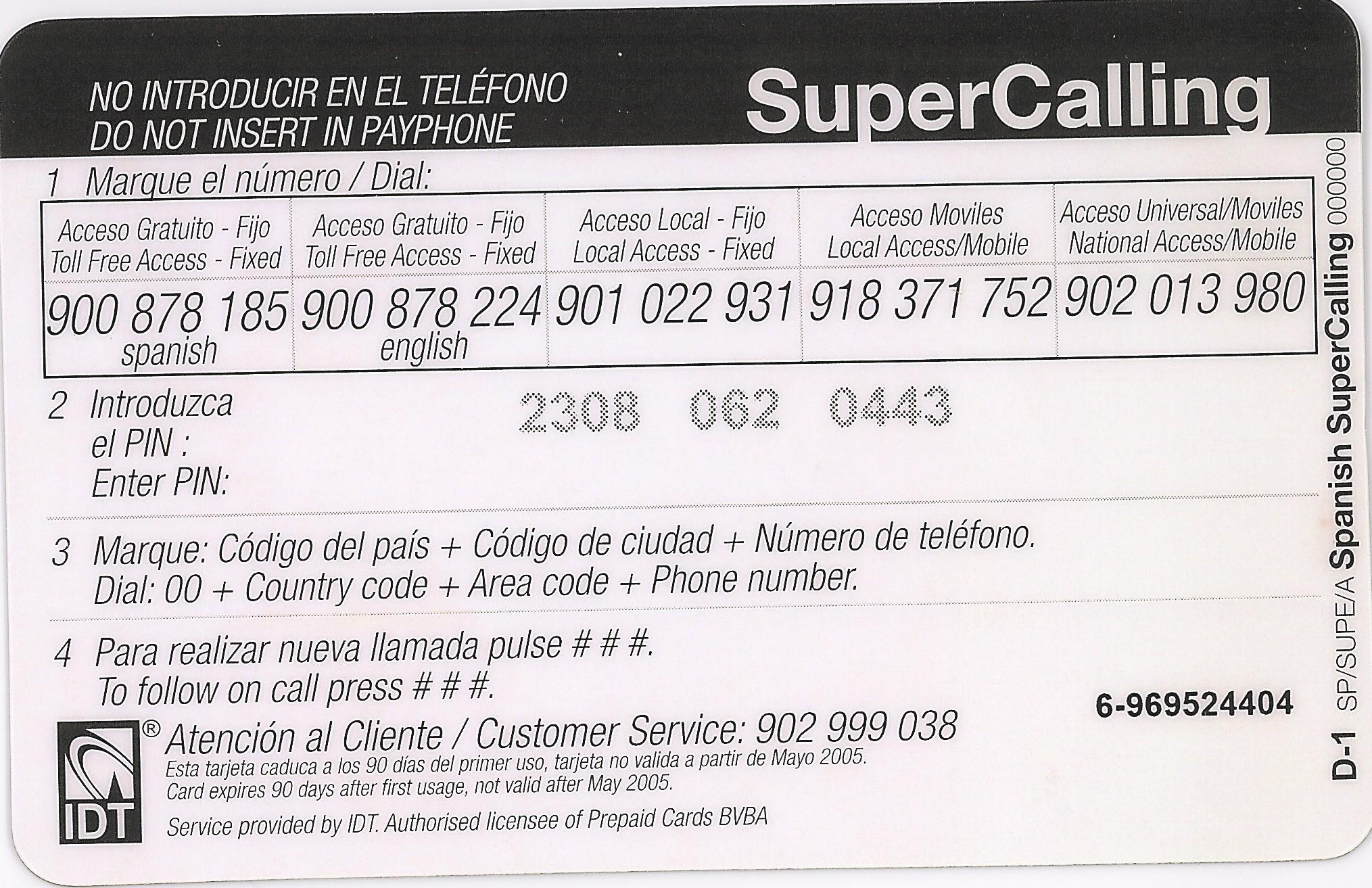 Tarjeta Super Call. International Calling Card. 6 €