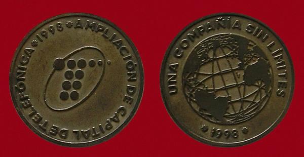 Medalla Conmemorativa de la ampliación de capital de Telefónica en 1998